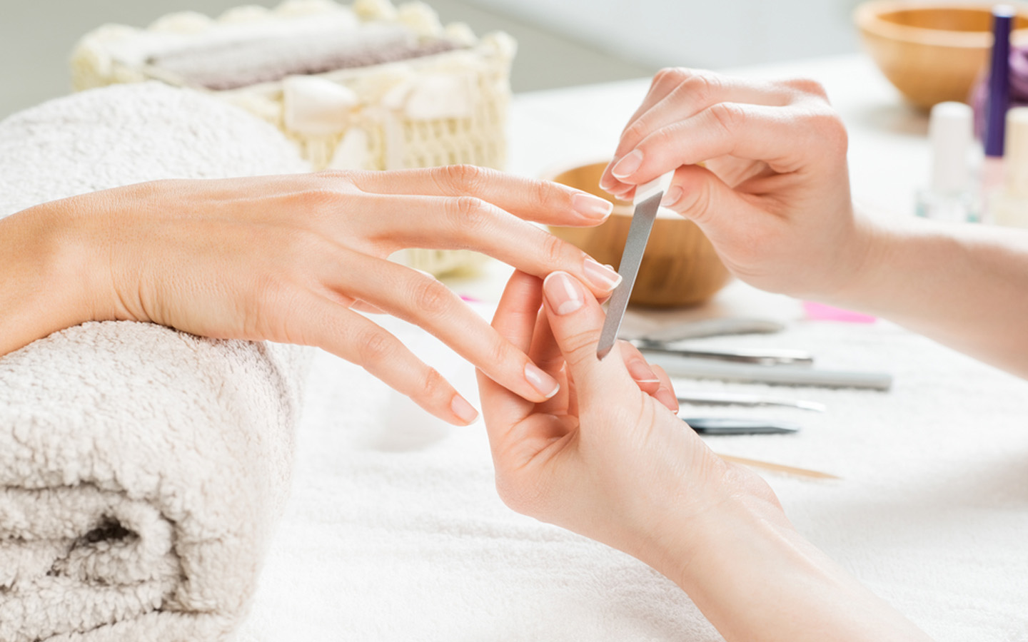 Manicure by a home service salon in Dubai