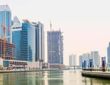 Waterfront area with commercial buildings in Dubai