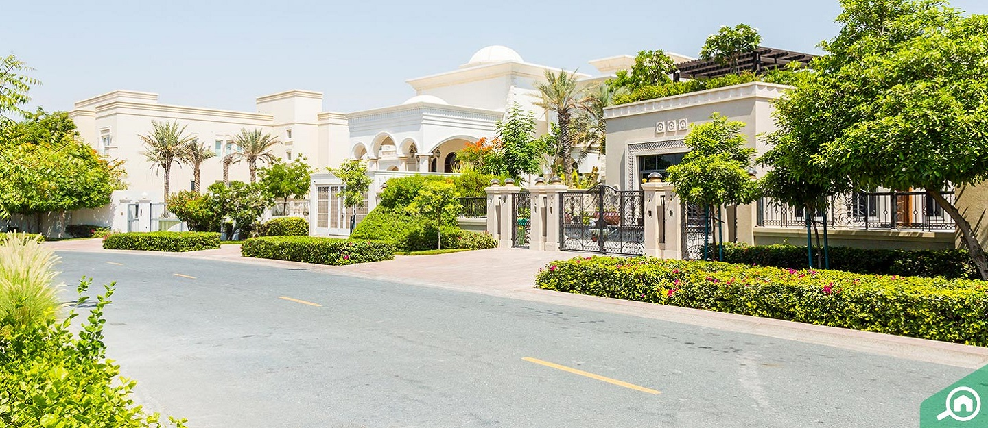 Street view of a villa in Emirates Hills