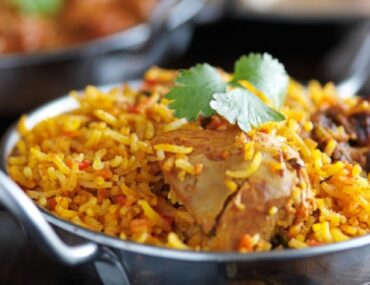 Biryani being served at one of the Indian restaurants in Dubai Marina, Dubai, United Arab Emirates
