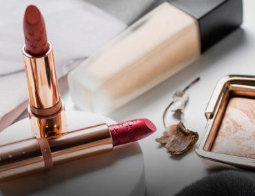 Lipsticks, palette and liquid foundation