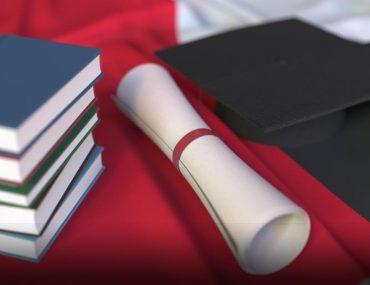 Scholarship degree and graduation cap