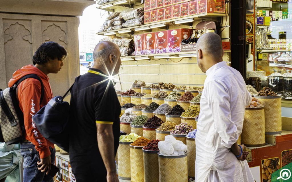Tourists visiting the Spice Souk