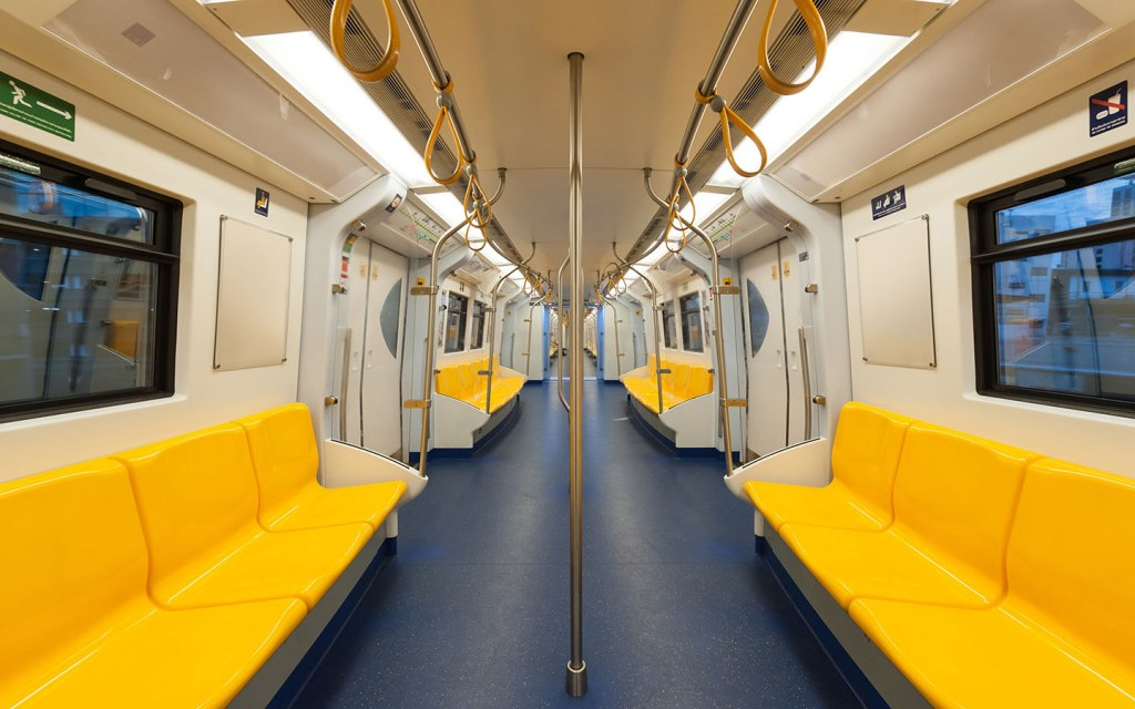 Interior of a metro train