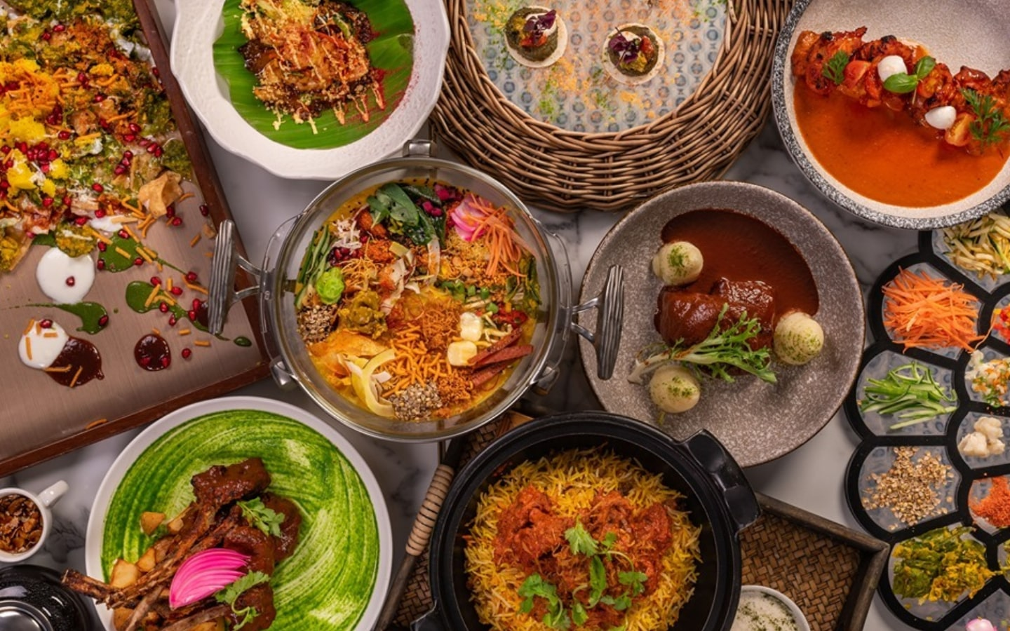 Dishes on a table from Tresind, one of the top fine dining Sheikh Zayed Road restaurants