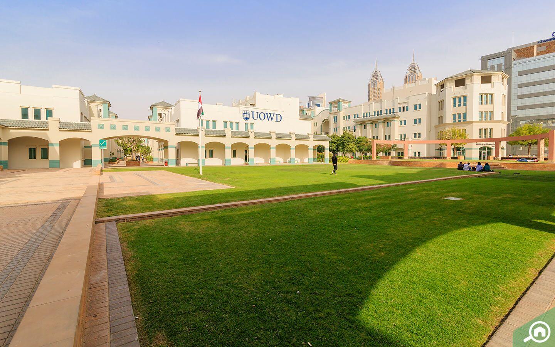 ساحة خضراء داخل حرم الجامعة