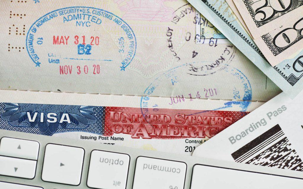 US visa application concept