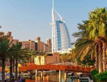 Residential area in Dubai with the Burj Al Arab in the background
