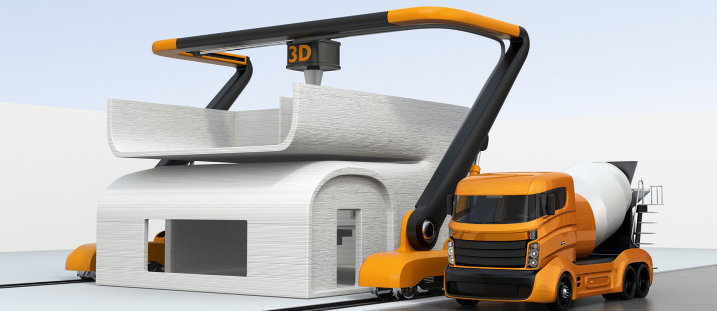 A computer-generated illustration of a 3D printing machine producing a 3D printed home
