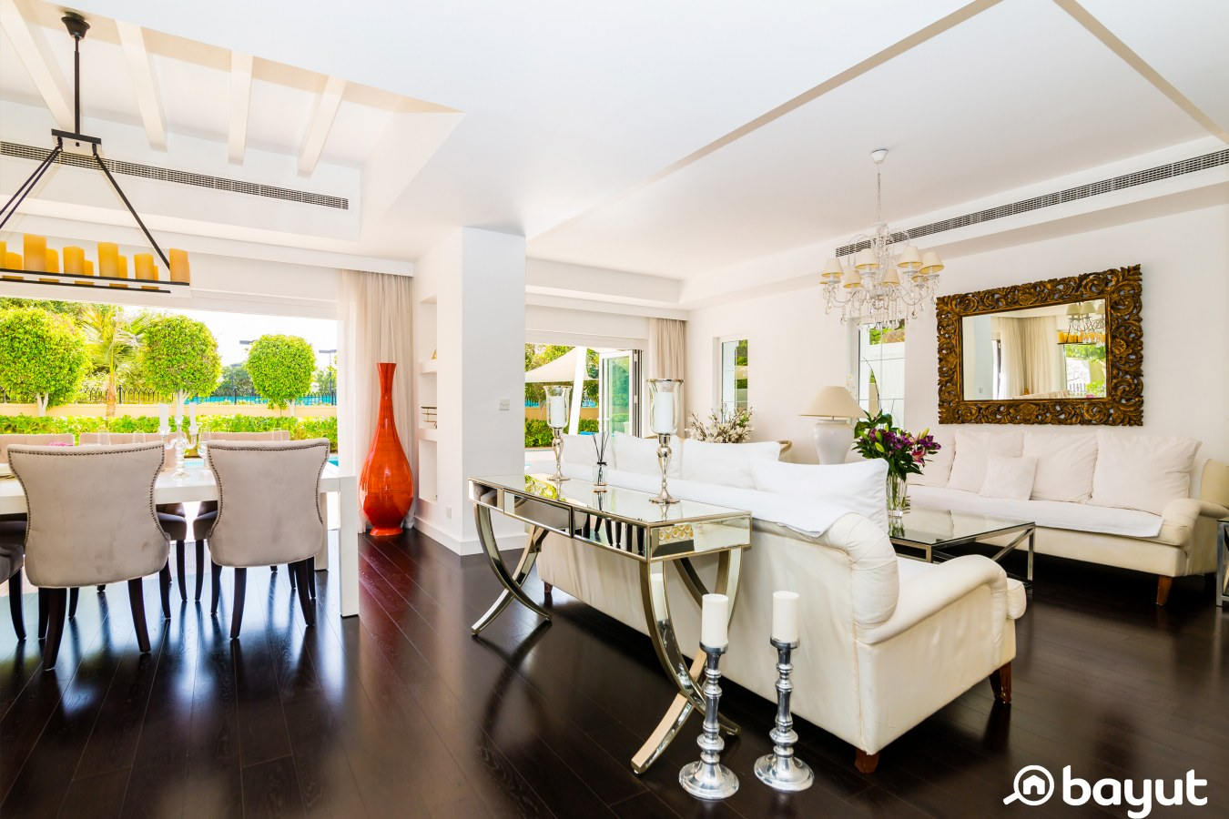 the living room at the arabian ranches villa