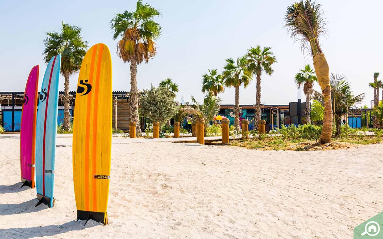 Surfboards at La Mer Dubai beach