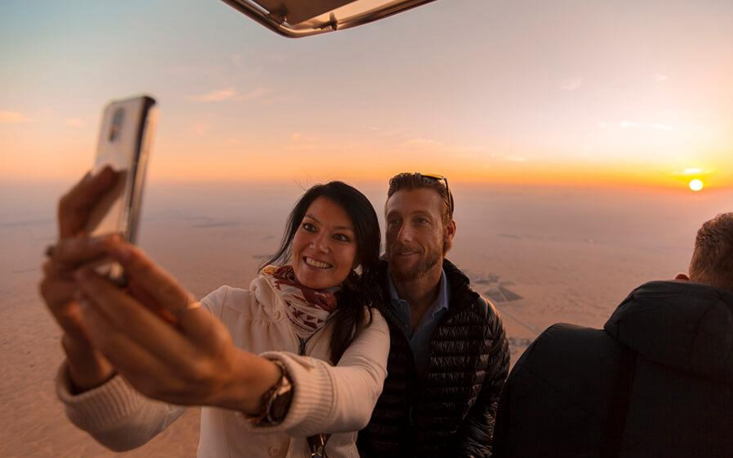 Couple on a hot air balloon ride
