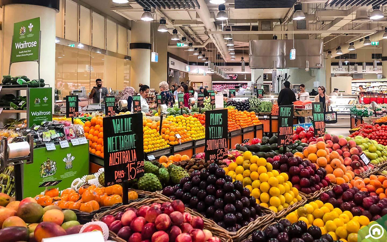 Fruit section in Waitrose Supermarket in Dubai Marina Mall