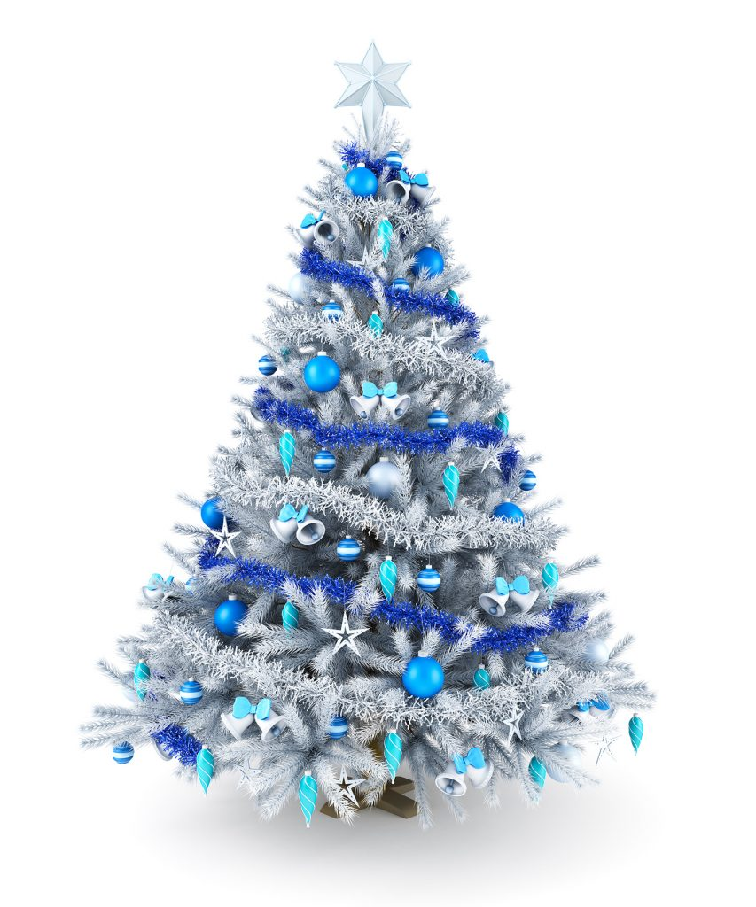 christmas tree decorations example a tall white christmas tree with blue ornaments silver tinsel