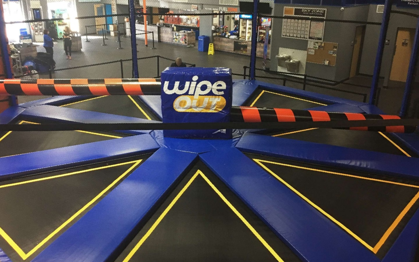 View of the Wipe Out activity at Sky Zone Dubai