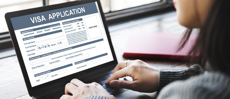 Woman applying for visa online