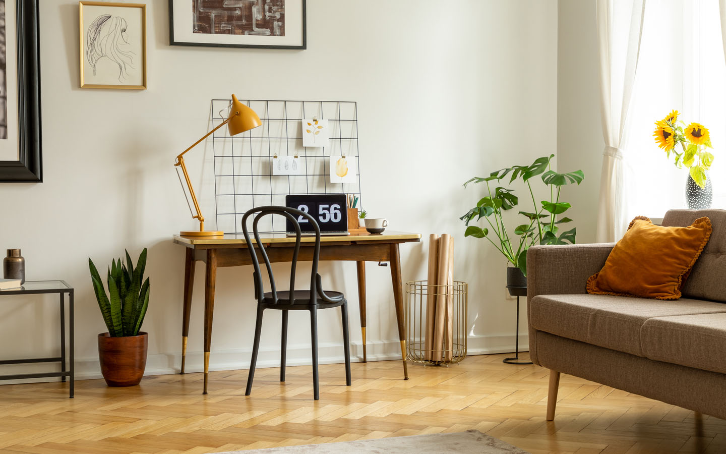 Having a work desk in your family room lets you manage your home office