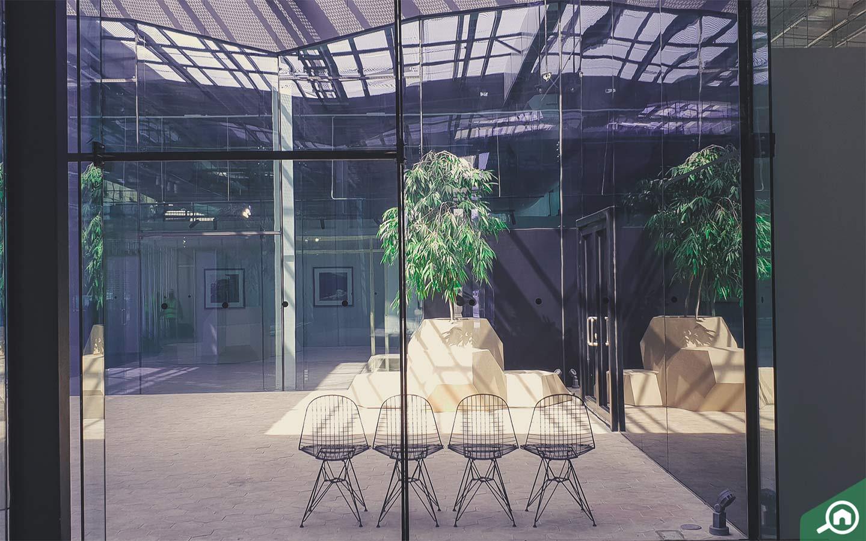Seating area inside Warehouse 421, art gallery in Abu Dhabi