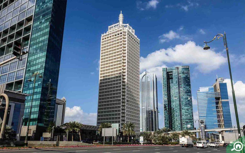 The DWTC building in Dubai