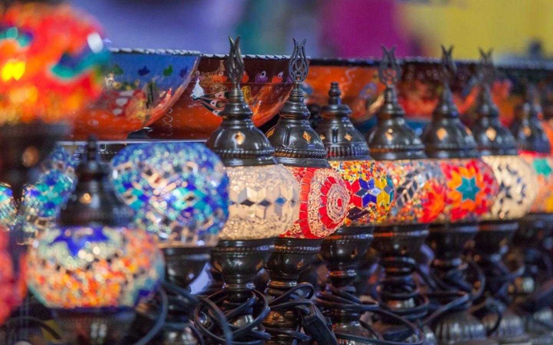 View of lamps in bazaar