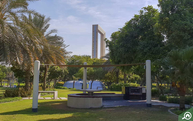 View of Dubai Frame from Zabeel Park in Dubai