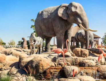 animal sculptures inside a UAE zoo