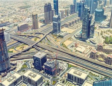 aerial shot of Dubai buildings