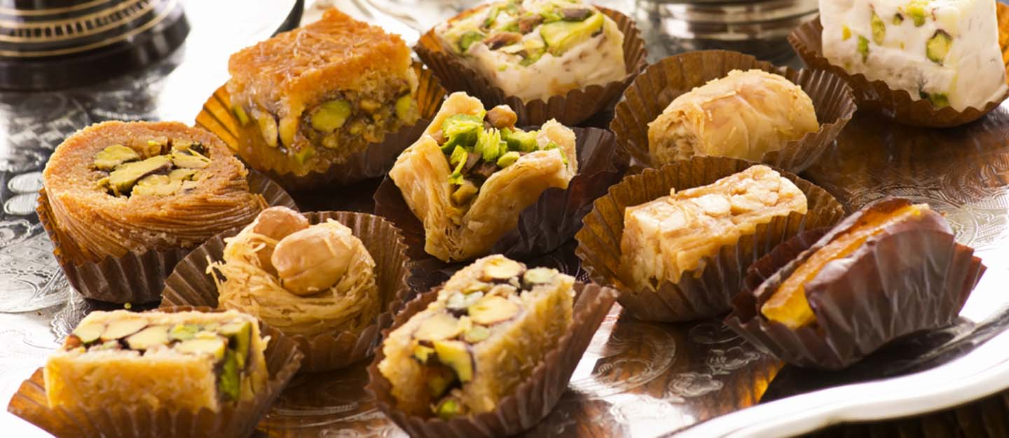 assortment of Arabic sweets in Dubai