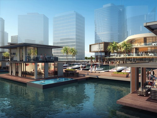 A computer-generated image of the Merasi Floating Villas on water by Dubai Properties