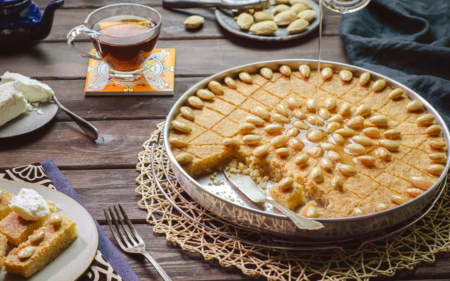 Basbousa topped with honey syrup