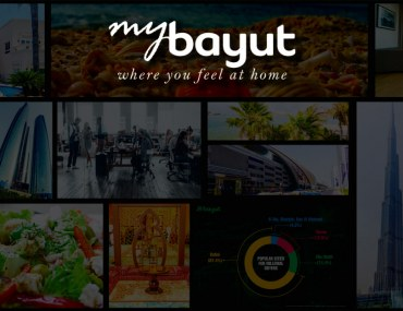 A collage of all the images off the MyBayut real estate blog in Dubai with the MyBayut logo and the tagline 'Where you feel at home'