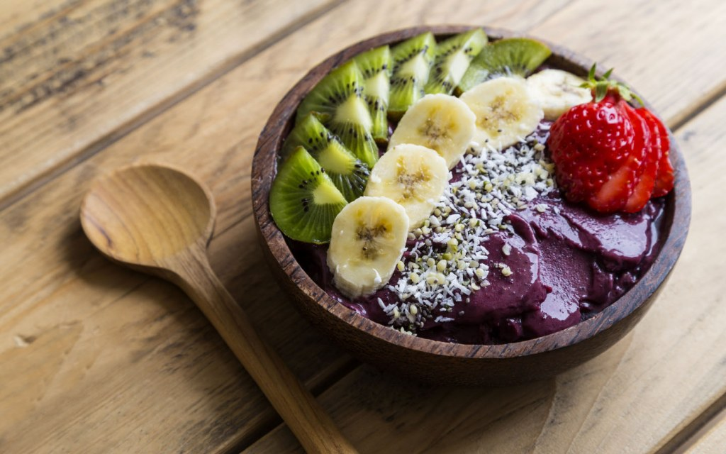 You can get an acai bowl in business from Healthy Little Secrets.