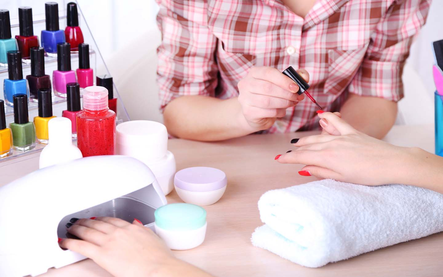 Nailcare services being given at a salon in Dubai