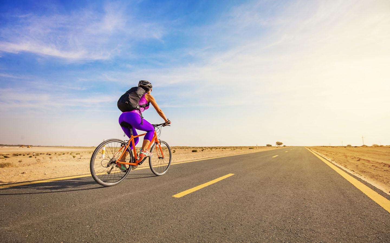 bike trekking in desert