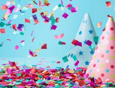 birthday hats and confetti