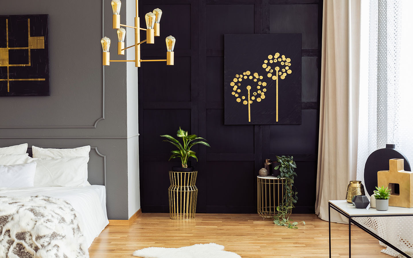 black and gold room decor