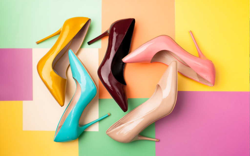 Heels on display from shops in Bin Sougat Centre