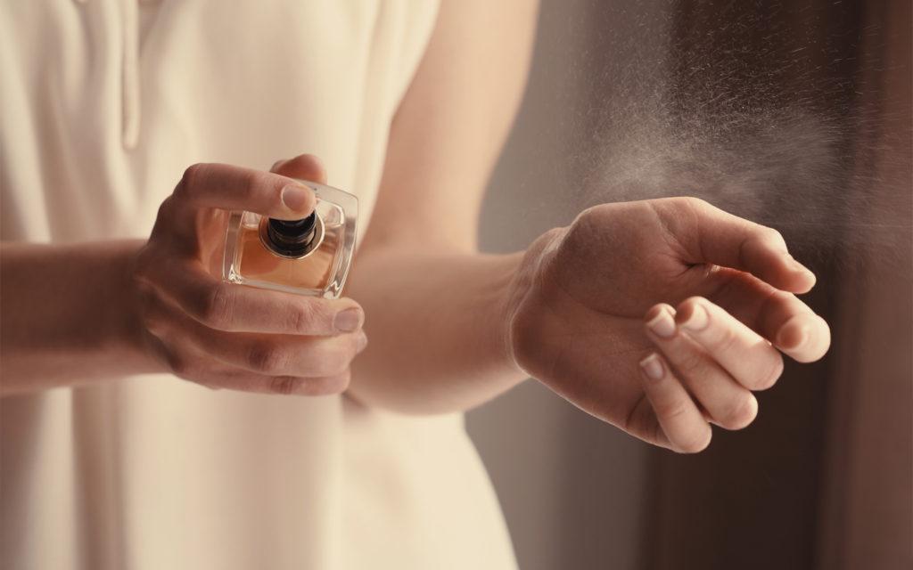Woman testing perfume at bin sougat centre