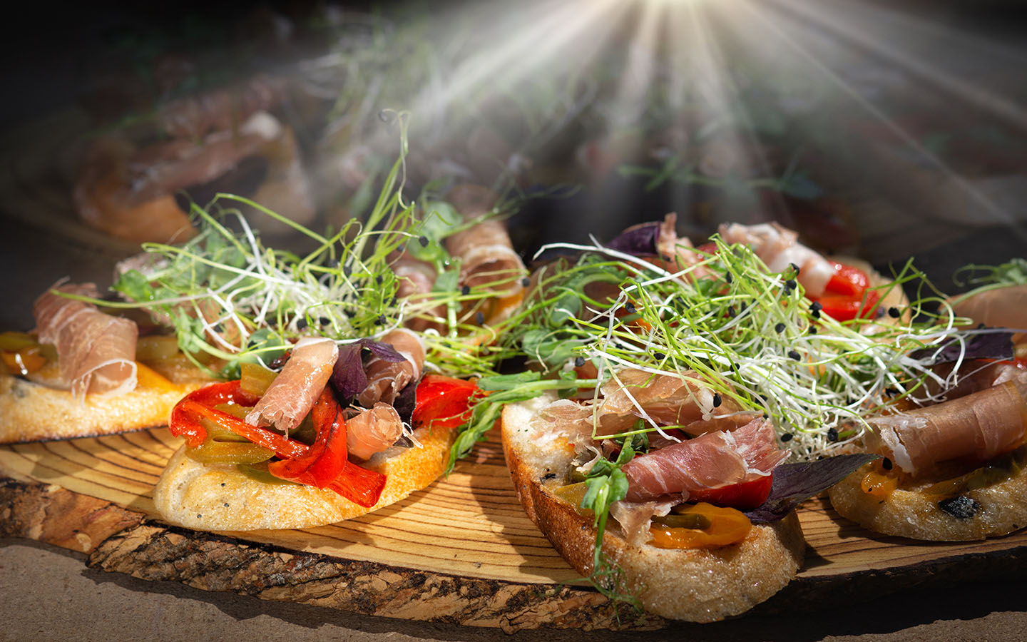 platter with different bruschetta toppings