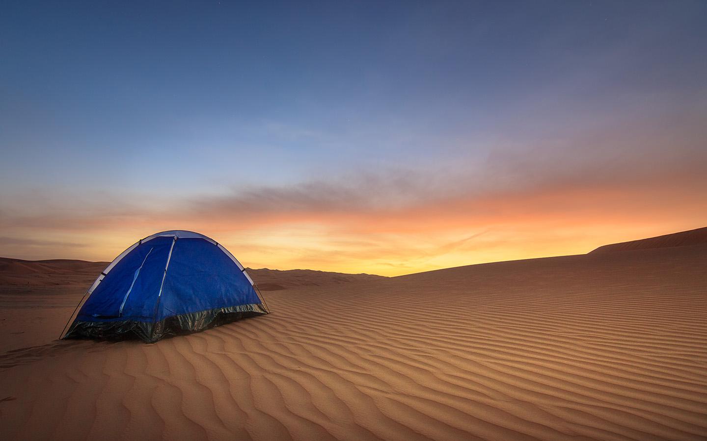 Night camping in desert