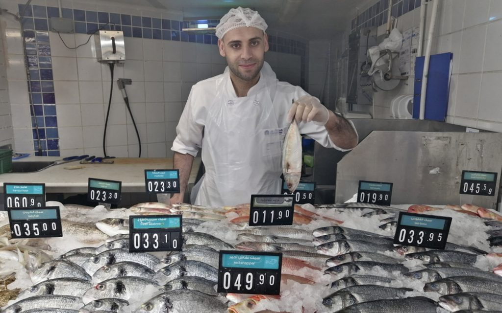 Frozen fish section at Carrefour