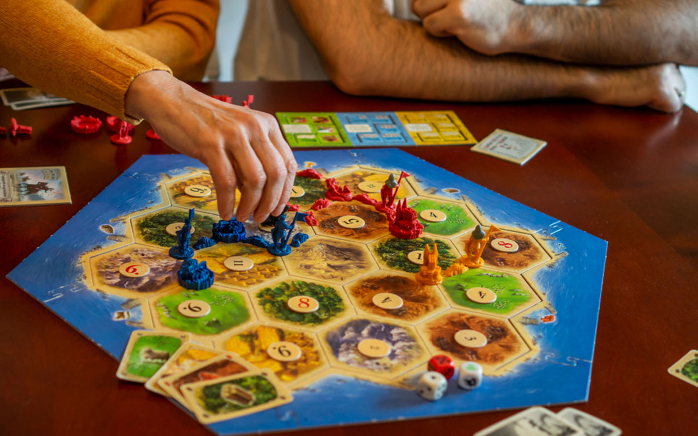 people playing a catan board game