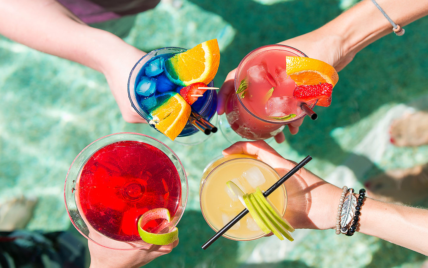 variety of poolside cocktails