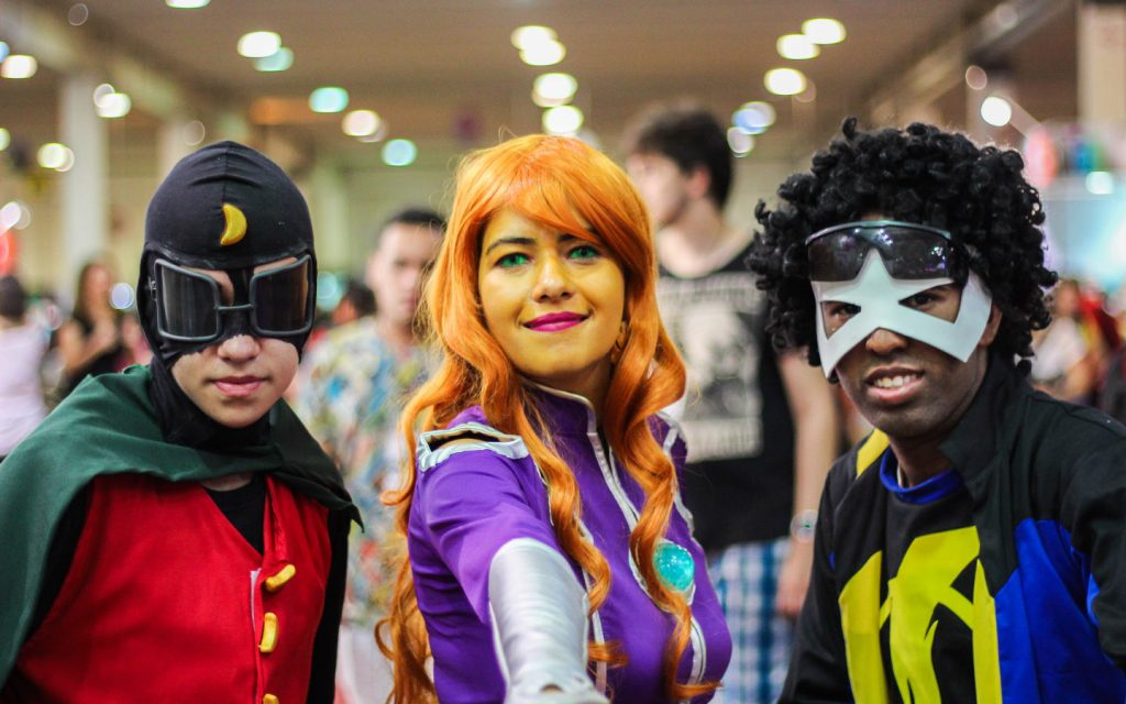 people portraying comic characters at Comic Con