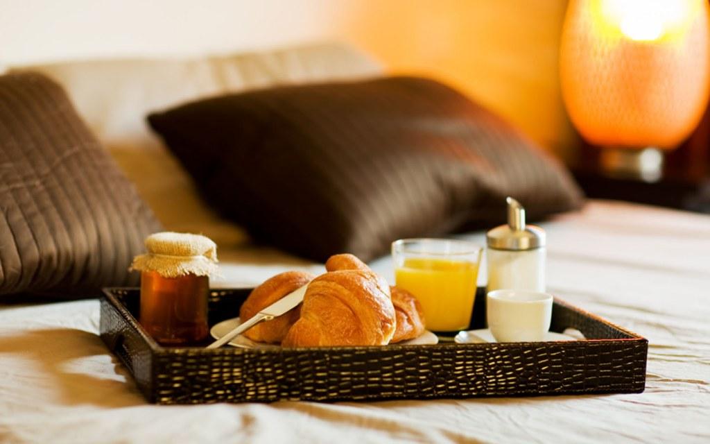 Breakfast platter in a hotel room in Abu Dhabi