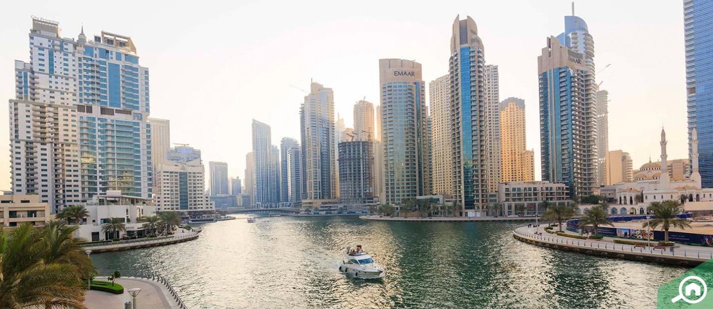 View of the Dubai Marina area and towers