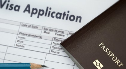visa application with passport