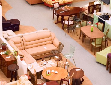 Set of furniture and accessories stacked neatly at a furniture shop in Dubai