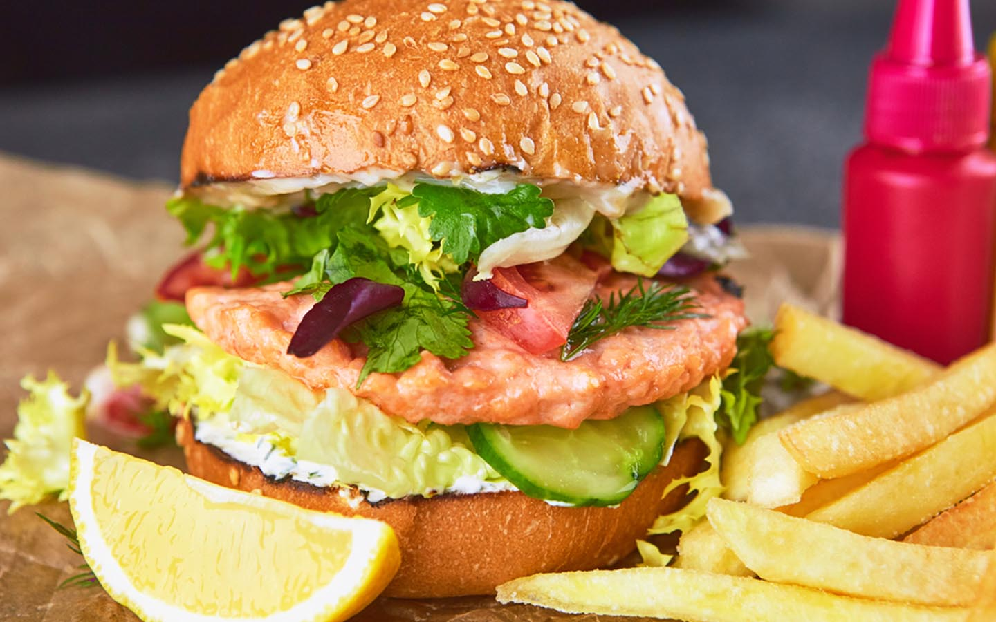 crab burger with fries