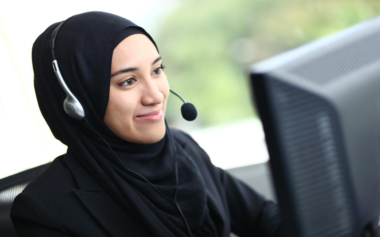A Muslim customer service representative